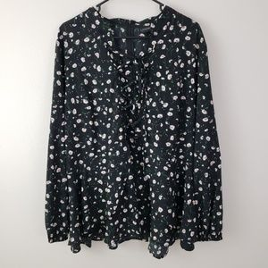 Lane Bryant, LS shirt, black with flowers, size 20